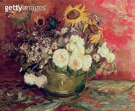 Sunflowers/ Roses and other Flowers in a Bowl/ 1886 (oil on canvas) - gettyimageskorea