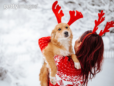 Woman and dog with reindeer horns enjoying snow - gettyimageskorea