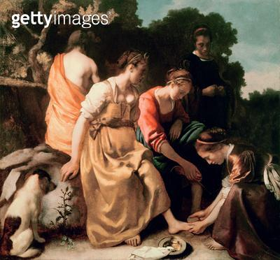 <b>Title</b> : Diana and her Companions, c.1655-56 (oil on canvas)<br><b>Medium</b> : oil on canvas<br><b>Location</b> : Mauritshuis, The Hague, The Netherlands<br> - gettyimageskorea