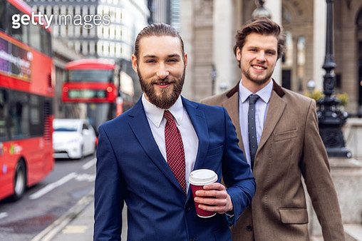 Businessmen colleagues on the go in the City - Central London - gettyimageskorea
