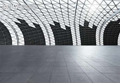 Vast empty Futuristic Architecture with gray floors and silver Metal line wall, Auto advertising background - gettyimageskorea