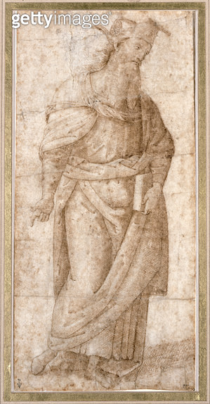 <b>Title</b> : Standing draped male figure holding a book in his left hand, study for the Pythagoras (c.570-480 BC) in the Sala dell'Udienza of<br><b>Medium</b> : pen and brown ink on paper<br><b>Location</b> : Musee Conde, Chantilly, France<br> - gettyimageskorea