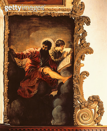 <b>Title</b> : St. Mark and St. John (oil on canvas)<br><b>Medium</b> : oil on canvas<br><b>Location</b> : Santa Maria del Giglio (Santa Maria Zobenigo), Venice, Italy<br> - gettyimageskorea