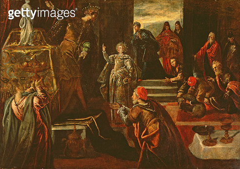 <b>Title</b> : Saint Catherine of Alexandria refusing to worship the Idols (oil on canvas)<br><b>Medium</b> : oil on canvas<br><b>Location</b> : Palazzo Patriarcale, Venice<br> - gettyimageskorea