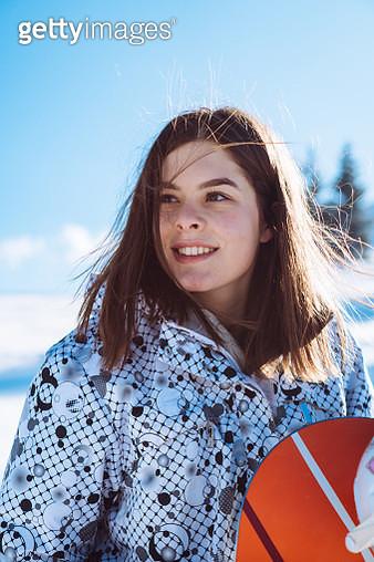 Snowboarder girl on winter vacation - gettyimageskorea