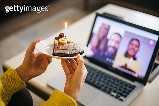 Woman celebrating birthday with video conference - gettyimageskorea