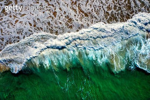 Waves crashing on beach, Australia, aerial view - gettyimageskorea