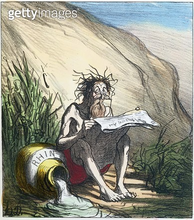 <b>Title</b> : Diogenes (d.c.320 BC) reading a newspaper, c.1870 (colour lithograph)<br><b>Medium</b> : <br><b>Location</b> : Bibliotheque Nationale, Paris, France<br> - gettyimageskorea
