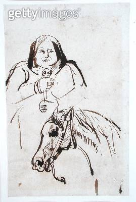 <b>Title</b> : Honore de Balzac (1799-1850) and his Horse (pen & ink on paper)Additional Infodrawing possibly by Eugene Delacroix (1798-1863);<br><b>Medium</b> : pen and ink on paper<br><b>Location</b> : Bibliotheque de l'Institut de France, Paris, France - gettyimageskorea