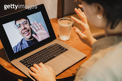 asian woman video conference with asian man-general concept - gettyimageskorea