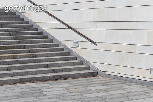 details of railing and stairs of a modern building - gettyimageskorea