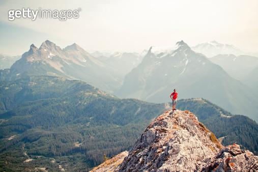 Hiker on rock ridge - gettyimageskorea