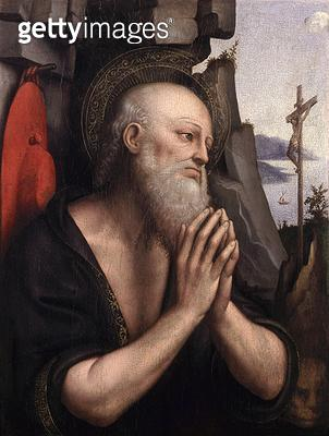 <b>Title</b> : The Penitent St. Jerome (oil on panel)<br><b>Medium</b> : oil on panel<br><b>Location</b> : Musee des Beaux-Arts, Rouen, France<br> - gettyimageskorea