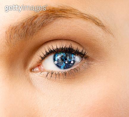 Woman with cyborg eye - gettyimageskorea