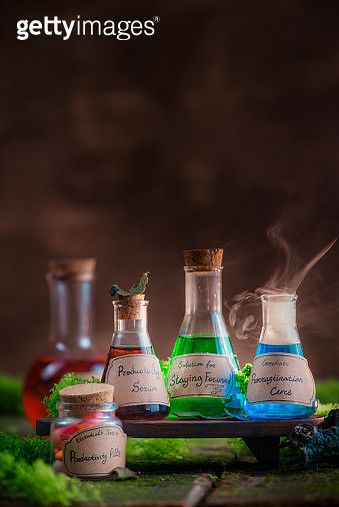Colorful potion collection with handwritten labels. Productivity and motivation concept with copy space. - gettyimageskorea