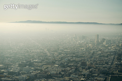 Aerial of Los Angeles Smog - gettyimageskorea