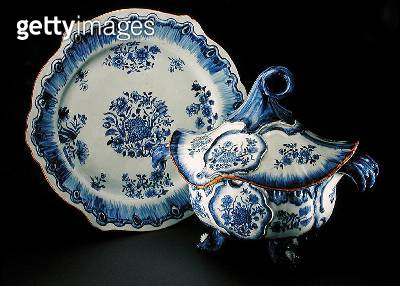 <b>Title</b> : A blue and white tureen, cover, and stand modelled in Rococo style after a Hoscht faience original, c.1770 (porcelain)Additional<br><b>Medium</b> : porcelain<br><b>Location</b> : Private Collection<br> - gettyimageskorea