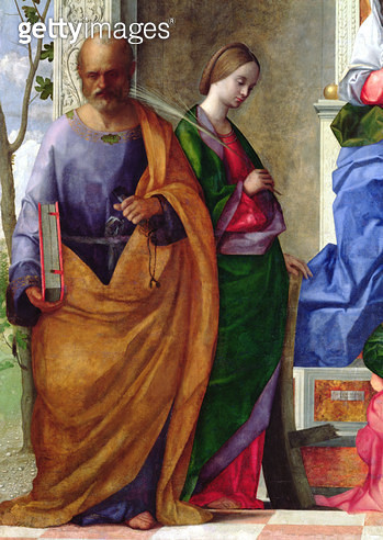 <b>Title</b> : San Zaccaria Altarpiece, 1505 (oil on canvas) (detail of 59860)Additional InfoMadonna and Child with Saints;<br><b>Medium</b> : <br><b>Location</b> : San Zaccaria, Castello, Venice, Italy<br> - gettyimageskorea