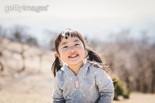 Portrait of girl hiking in the mountain - gettyimageskorea