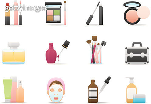 Cosmetics & Skin Care icons | Premium Matte series - gettyimageskorea