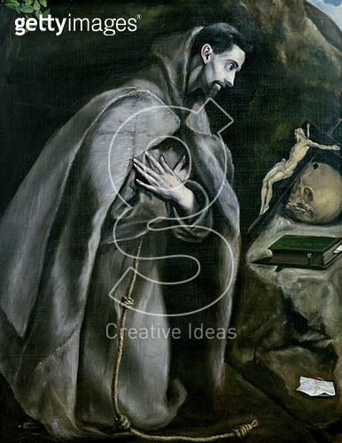 <b>Title</b> : St. Francis of Assisi, 1580-95 (oil on canvas)<br><b>Medium</b> : oil on canvas<br><b>Location</b> : Musee des Beaux-Arts, Lille, France<br> - gettyimageskorea