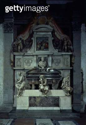 <b>Title</b> : Monument to Michelangelo Buonarroti (1475-1564) (marble)<br><b>Medium</b> : marble<br><b>Location</b> : Santa Croce, Florence, Italy<br> - gettyimageskorea