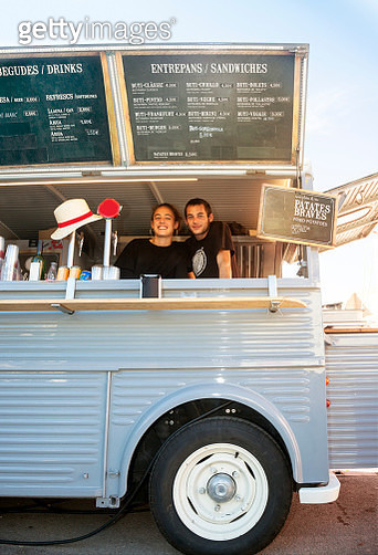 Food truck and owners - gettyimageskorea