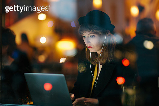 Woman Working from Cafe - gettyimageskorea
