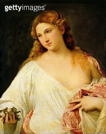 <b>Title</b> : Flora (oil on canvas)<br><b>Medium</b> : oil on canvas<br><b>Location</b> : Galleria degli Uffizi, Florence, Italy<br> - gettyimageskorea