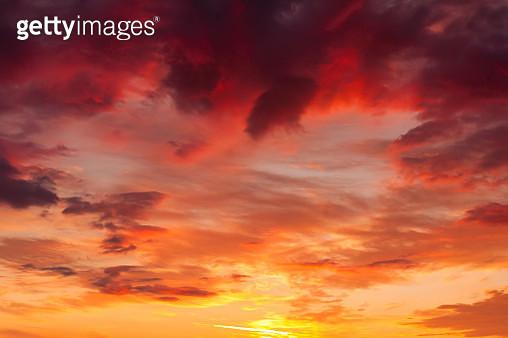 Beautiful sunset sky. Natural background - gettyimageskorea