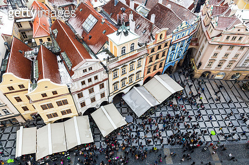Christmas market at old town from above in Prague, Czech Republic - gettyimageskorea