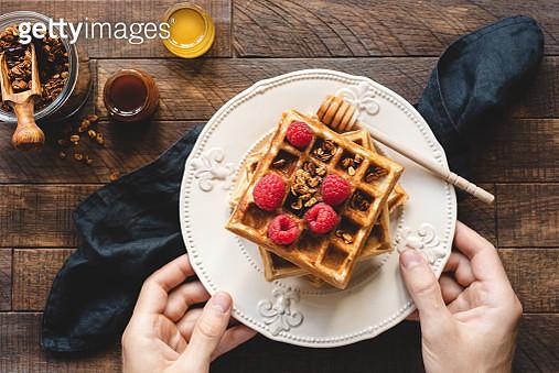 Eating Waffles For Breakfast - gettyimageskorea