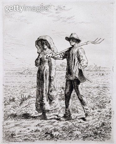 <b>Title</b> : Setting off for Work, 1863 (etching)Additional InfoLe Depart pour le Travail;<br><b>Medium</b> : etching<br><b>Location</b> : Cecil Higgins Art Gallery, Bedford, Bedfordshire, UK<br> - gettyimageskorea
