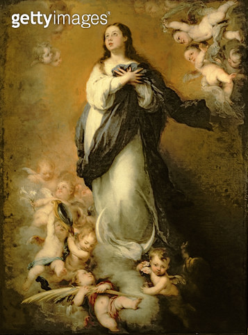 <b>Title</b> : The Immaculate Conception (oil on canvas)<br><b>Medium</b> : <br><b>Location</b> : Museo de Bellas Artes, Seville, Spain<br> - gettyimageskorea
