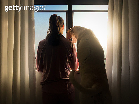Woman and her dog looking trough window - gettyimageskorea