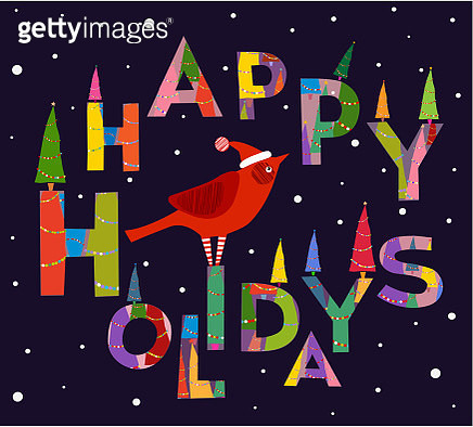 Congratulation, Background of words, Cardinal bird,  Happy Holidays - Text, Handmade font, Xmas  and  Merry Christmas- holiday greetings with  Decoration - gettyimageskorea