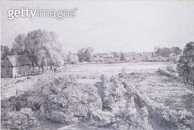 View of East Bergholt over the kitchen garden of Golding/ Constable's house - gettyimageskorea