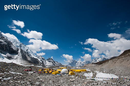 Everest base camp is a temporary city at 5500m on the Khumbu glacier - gettyimageskorea