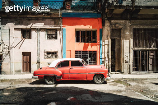 Old American cars on Havana street, Cuba - gettyimageskorea