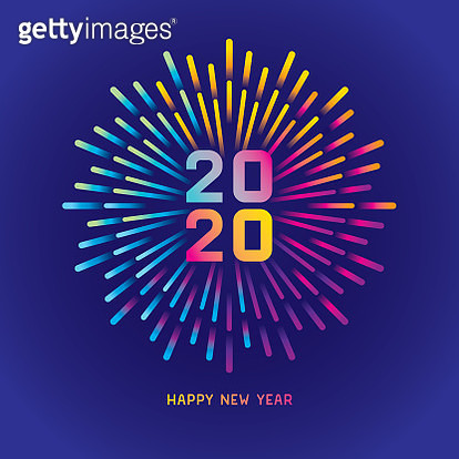 Exploding colorful gradient fireworks. Editable vector on layers.  This is an AI EPS 10 file format, with transparencies and gradients. - gettyimageskorea