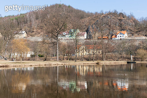 Beautiful view at Loket houses reflected in Ohre river - gettyimageskorea