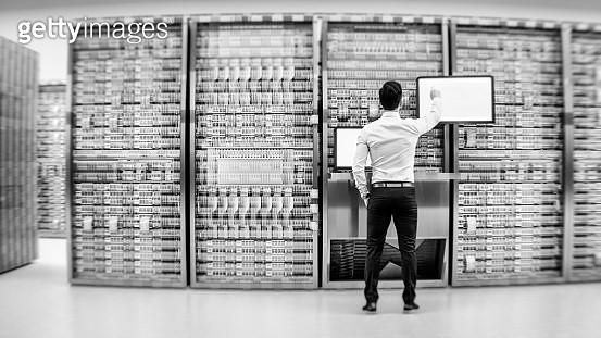 Server room with businessman - gettyimageskorea