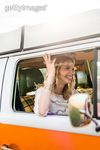 Hippie Woman Driving In Old Bus - gettyimageskorea