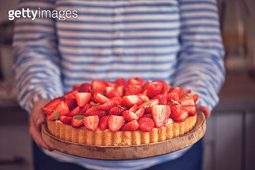 Homemade Strawberry Tart with Vanilla Cream - gettyimageskorea