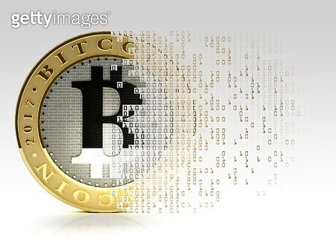 Conceptual illustration representing the bitcoin cryptocurrency. Bitcoin is a type of digital currency, created in 2009, which operates independently of any bank. Certain vendors now accept Bitcoins as payment for goods or services - gettyimageskorea