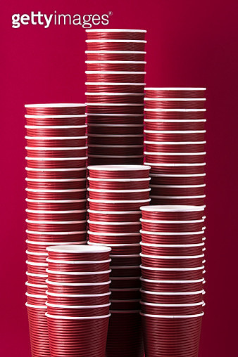 Paper Coffee Cups Stacking Columns - gettyimageskorea