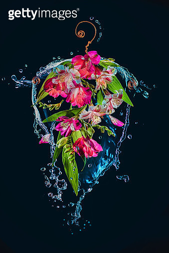 Clothes hanger with flowers and water splashes, spring outfit concept - gettyimageskorea
