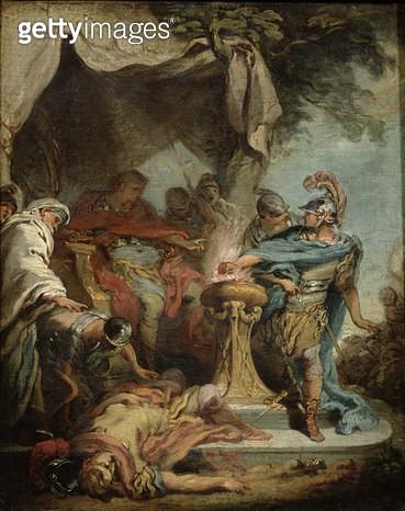 <b>Title</b> : Mucius Scaevola before Porsenna (oil on canvas)<br><b>Medium</b> : oil on canvas<br><b>Location</b> : Musee de l'Hotel Sandelin, Saint-Omer, France<br> - gettyimageskorea
