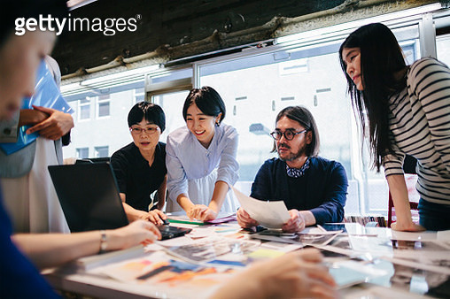 Group of people are working together in a modern working space in Tokyo. - gettyimageskorea