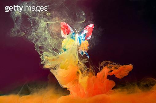 farfalla di plastica ricoperta di colore acrilico e emersa in acqua - gettyimageskorea